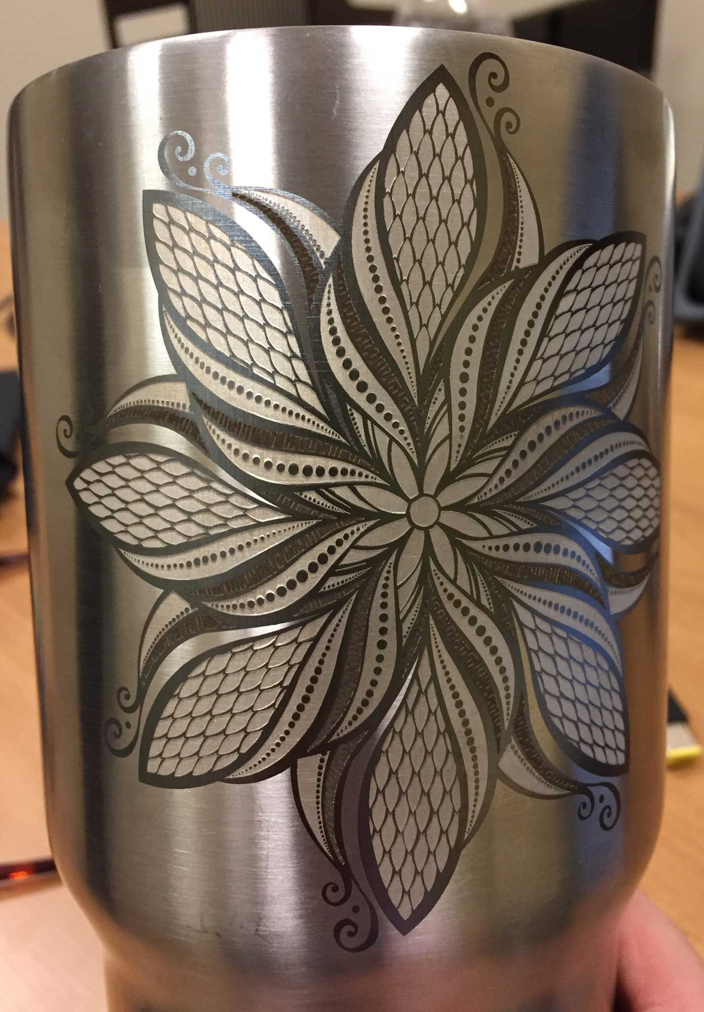 Laser Engraving on Stainless Steel Yeti Cup